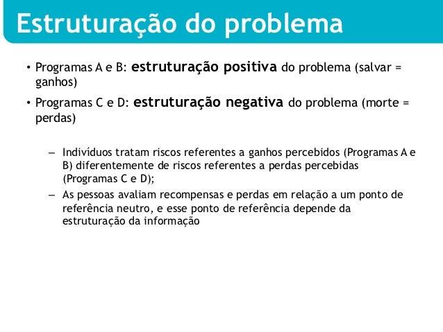 Estruturação do problema• Programas A e B: estruturação positiva do problema (salvar =   ganhos)• Programas C e D: estru...