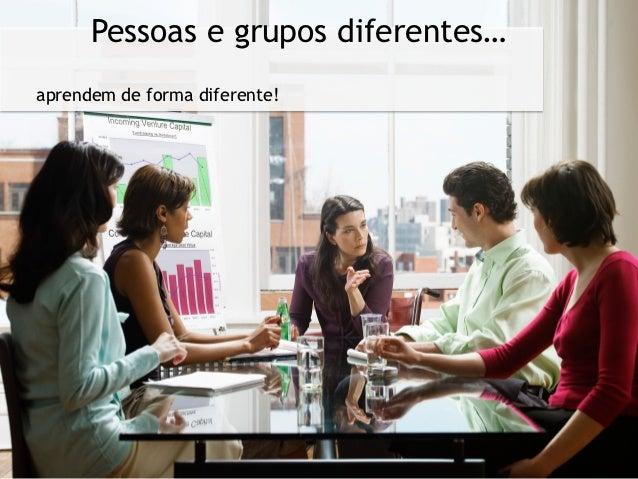 Pessoas e grupos diferentes…aprendem de forma diferente!