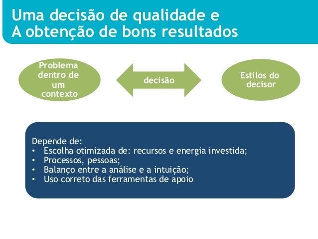 Uma decisão de qualidade eA obtenção de bons resultados   Problema   dentro de                                          Es...
