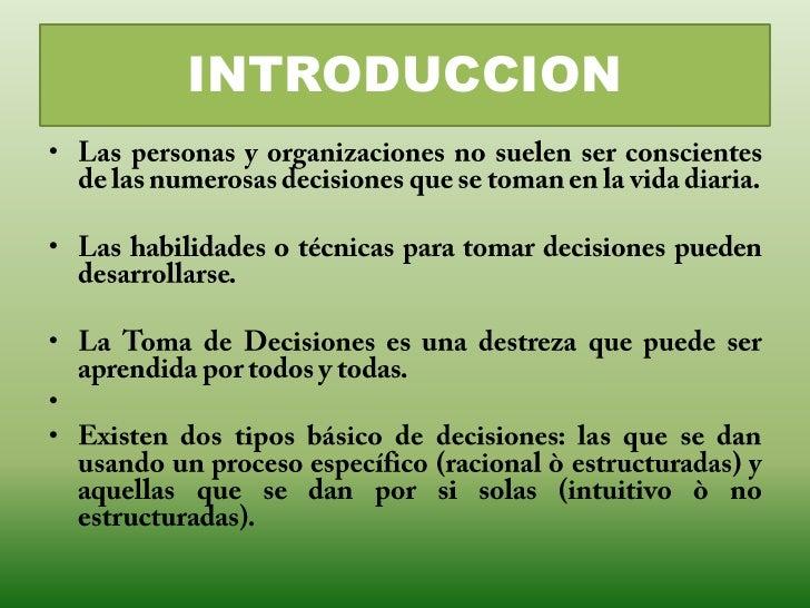 TOMA DE DECISIONES Slide 2