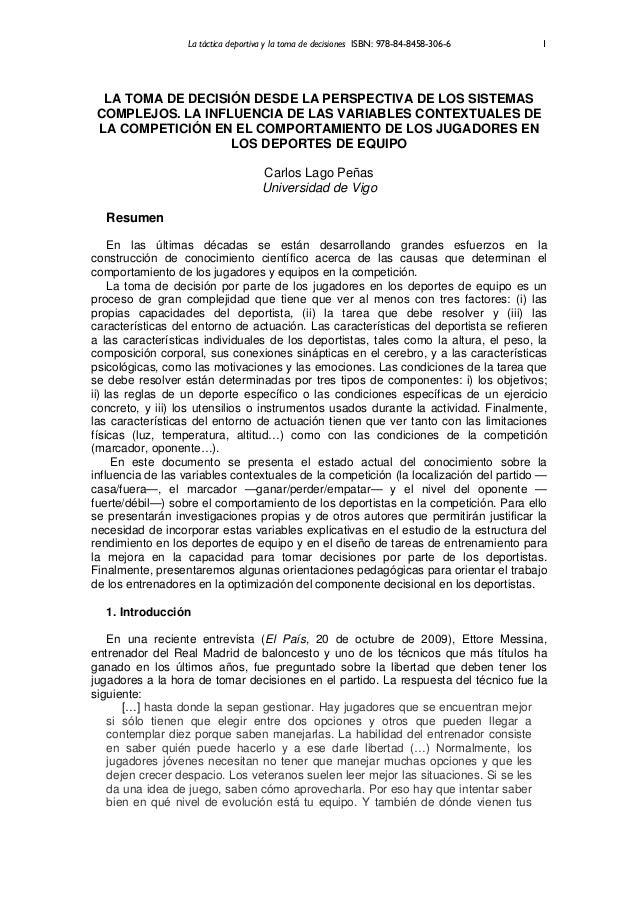 La táctica deportiva y la toma de decisiones ISBN: 978-84-8458-306-6   1  LA TOMA DE DECISIÓN DESDE LA PERSPECTIVA DE LOS ...