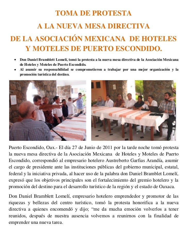 TOMA DE PROTESTA               A LA NUEVA MESA DIRECTIVADE LA ASOCIACIÓN MEXICANA DE HOTELES    Y MOTELES DE PUERTO ESCOND...