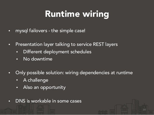 Runtime wiring • mysql failovers - the simple case! • Presentation layer talking to service REST layers • Different deplo...