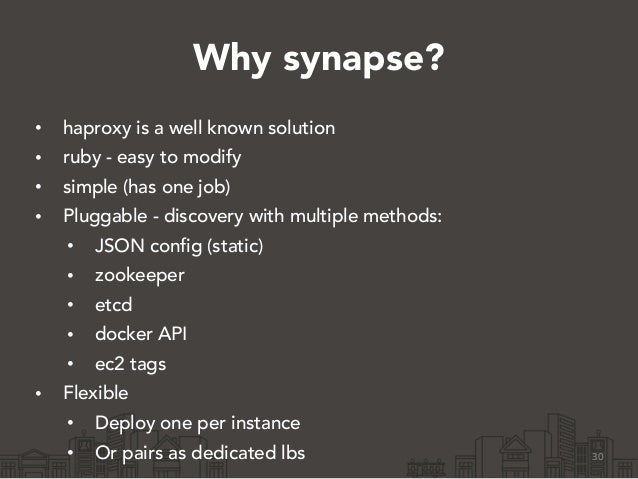 Why synapse? • haproxy is a well known solution • ruby - easy to modify • simple (has one job) • Pluggable - discovery wit...