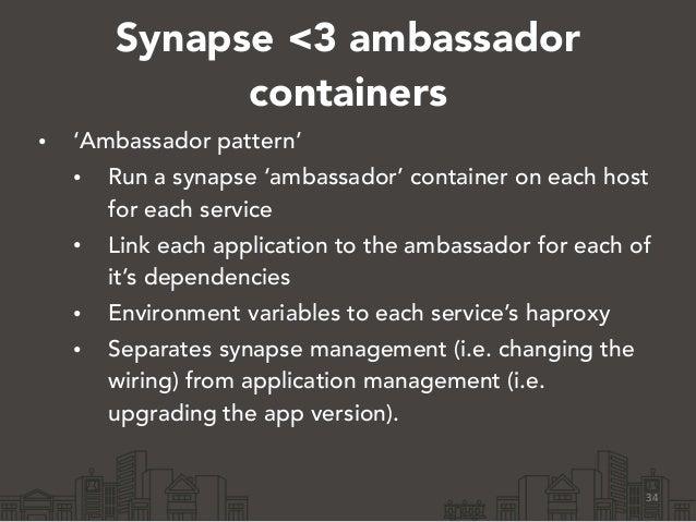 Synapse <3 ambassador containers • 'Ambassador pattern' • Run a synapse 'ambassador' container on each host for each servi...