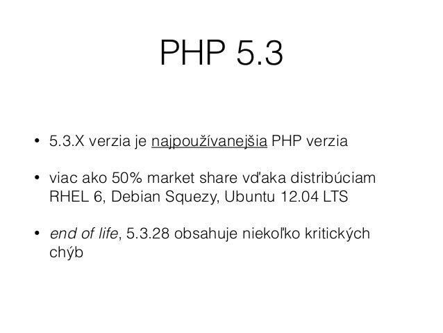 • PHP 5.3 je pomalé, žiadne cachovanie kódu • Riešenia: • APC - Alternative PHP Cache • OPCache (?)