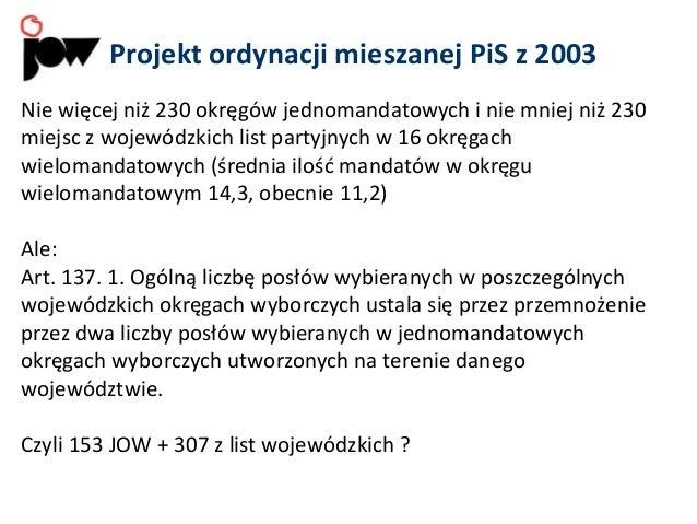 Projekt ordynacji mieszanej PiS z 2003 Nie więcej niż 230 okręgów jednomandatowych i nie mniej niż 230 miejsc z wojewódzki...