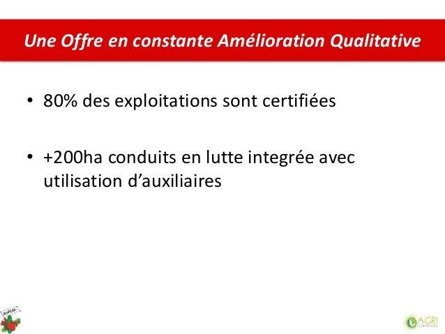 • 80% des exploitations sont certifiées • +200ha conduits en lutte integrée avec utilisation d'auxiliaires Une Offre en co...