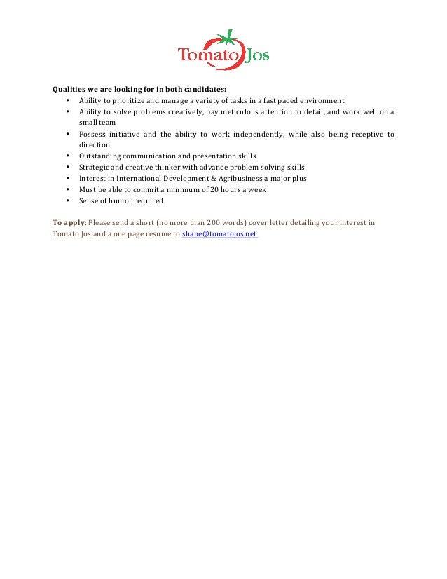 Tomato jos summer intern job description – Summer Intern Job Description