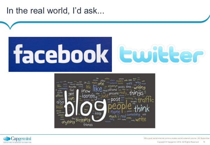 In the real world, I'd ask...                                Why good social internal comms creates social external comms ...