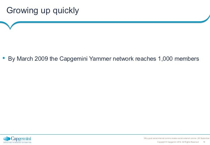 Growing up quickly By March 2009 the Capgemini Yammer network reaches 1,000 members                                      ...
