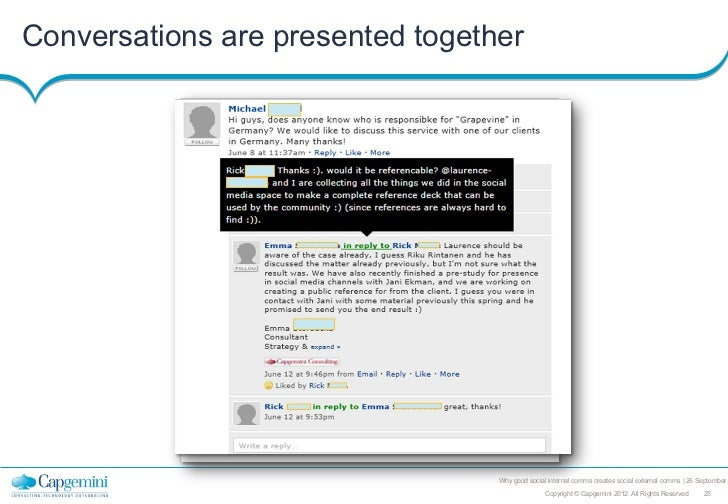 Conversations are presented together                                  Why good social internal comms creates social extern...
