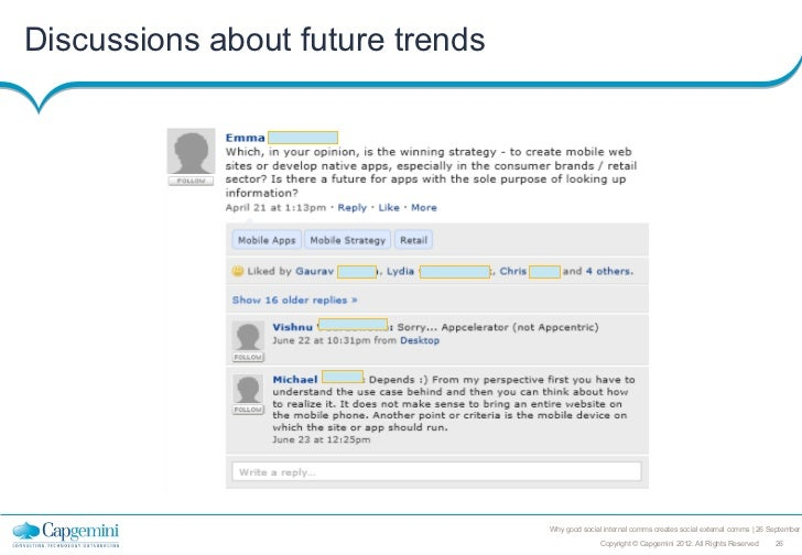 Discussions about future trends                                  Why good social internal comms creates social external co...