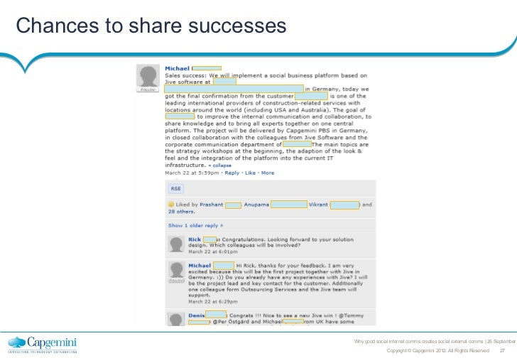 Chances to share successes                             Why good social internal comms creates social external comms   26 S...