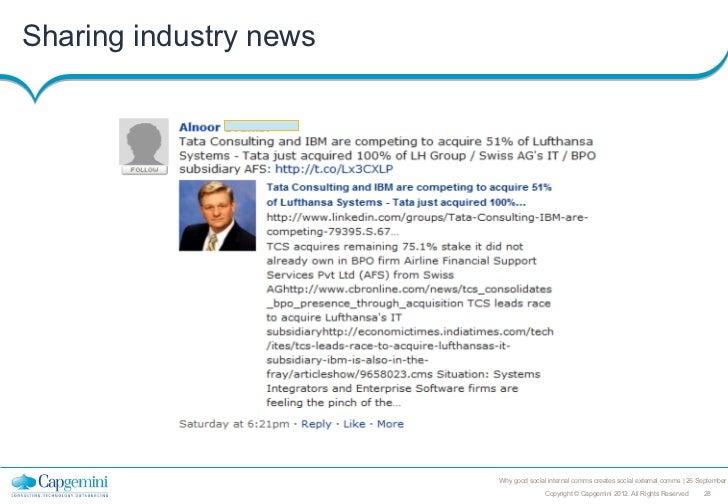Sharing industry news                        Why good social internal comms creates social external comms   26 September  ...