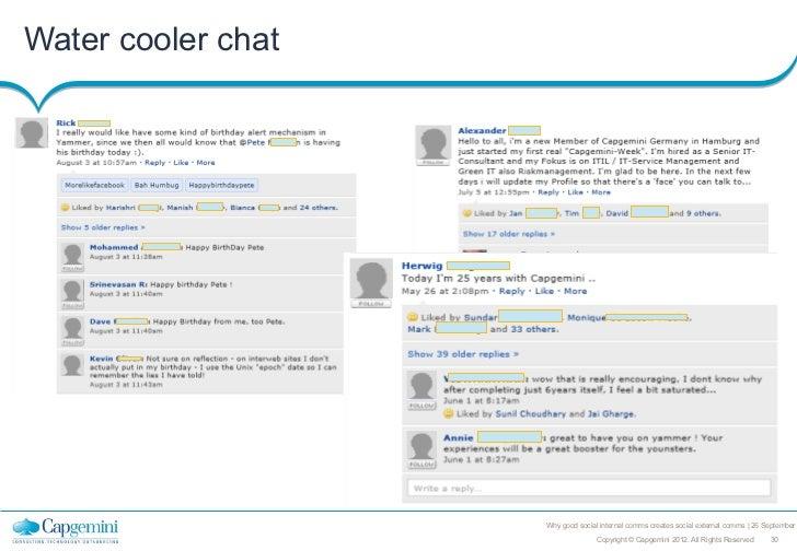 Water cooler chat                    Why good social internal comms creates social external comms   26 September          ...