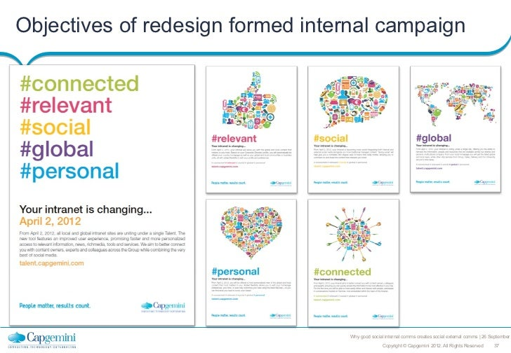 Objectives of redesign formed internal campaign                         own                                  Why good soci...