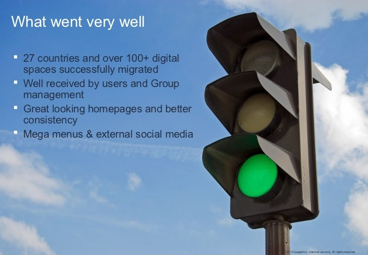 What went very well 27 countries and over 100+ digital  spaces successfully migrated Well received by users and Group  m...