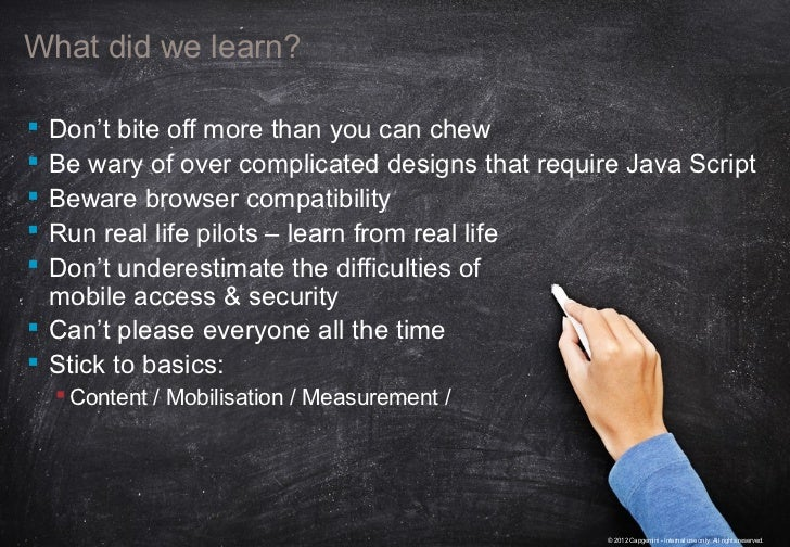 What did we learn? Don't bite off more than you can chew Be wary of over complicated designs that require Java Script B...