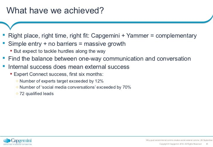 What have we achieved? Right place, right time, right fit: Capgemini + Yammer = complementary Simple entry + no barriers...