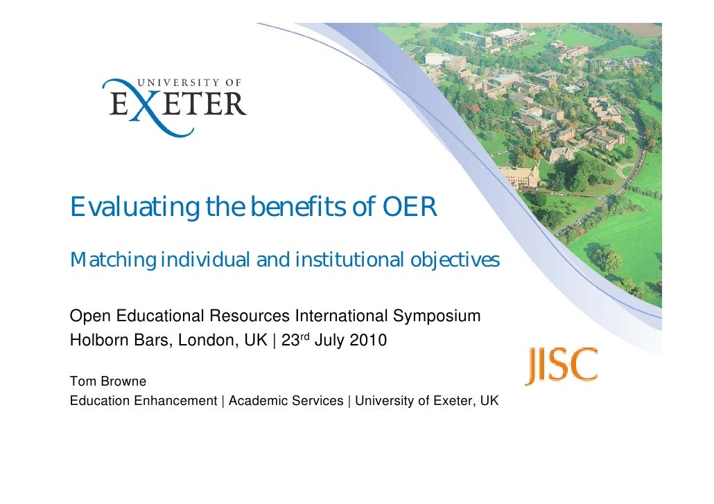 Evaluating the benefits of OER Matching individual and institutional objectives  Open Educational Resources International ...