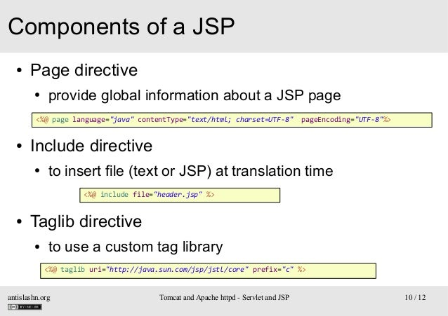 """Components of a JSP ●  Page directive ●  provide global information about a JSP page  <%@ page language=""""java"""" contentType..."""