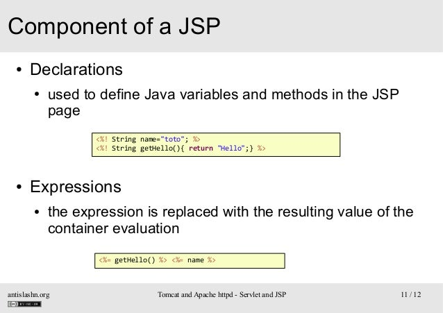 """Component of a JSP ●  Declarations ●  used to define Java variables and methods in the JSP page <%! String name=""""toto""""; %>..."""