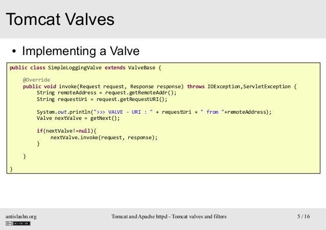 Tomcat Valves ●  Implementing a Valve  public class SimpleLoggingValve extends ValveBase { @Override public void invoke(Re...