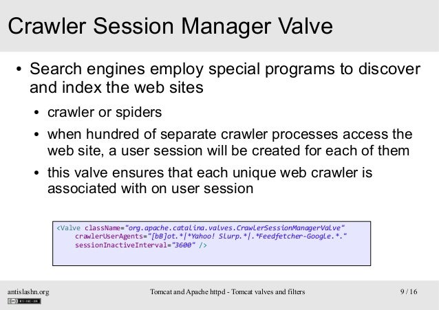 Crawler Session Manager Valve ●  Search engines employ special programs to discover and index the web sites ● ●  ●  crawle...