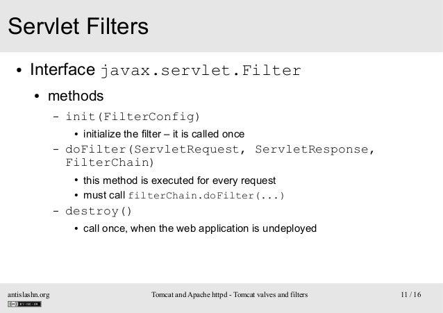 Servlet Filters ●  Interface javax.servlet.Filter ●  methods –  init(FilterConfig) ●  –  doFilter(ServletRequest, ServletR...