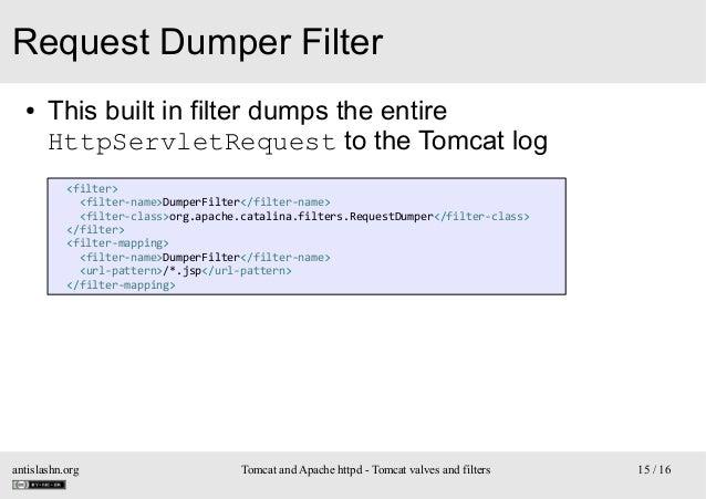 Request Dumper Filter ●  This built in filter dumps the entire HttpServletRequest to the Tomcat log <filter> <filter-name>...