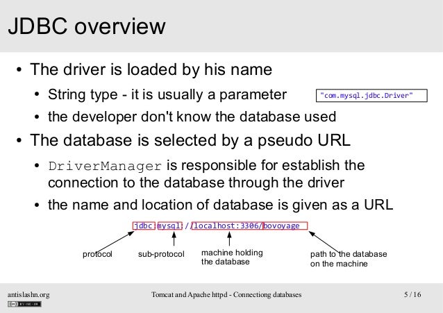 JDBC overview ●  The driver is loaded by his name ● ●  ●  String type - it is usually a parameter  the developer don't kno...