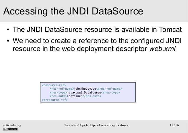 Accessing the JNDI DataSource ● ●  The JNDI DataSource resource is available in Tomcat We need to create a reference to th...