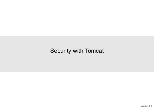 Security with Tomcat  version 1.1