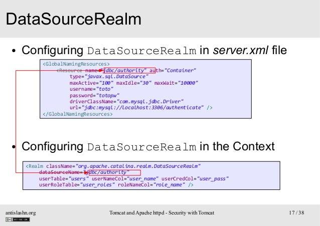 "DataSourceRealm ●  Configuring DataSourceRealm in server.xml file <GlobalNamingResources> <Resource name=""jdbc/authority"" ..."