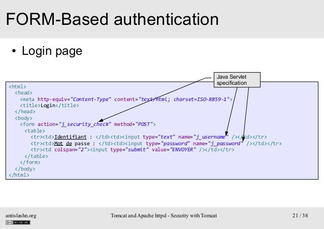 """FORM-Based authentication ●  Login page Java Servlet specification  <html> <head> <meta http-equiv=""""Content-Type"""" content=..."""