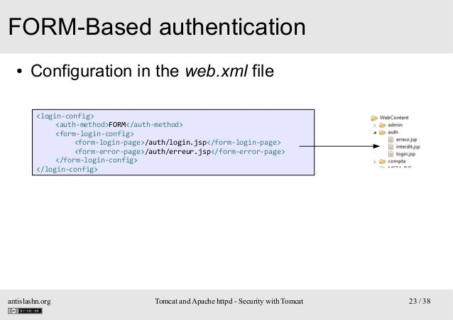 FORM-Based authentication ●  Configuration in the web.xml file <login-config> <auth-method>FORM</auth-method> <form-login-...