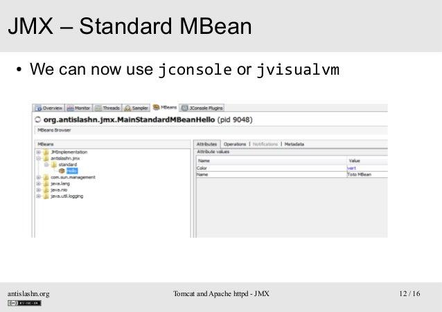 JMX – Standard MBean ●  We can now use jconsole or jvisualvm  antislashn.org  Tomcat and Apache httpd - JMX  12 / 16