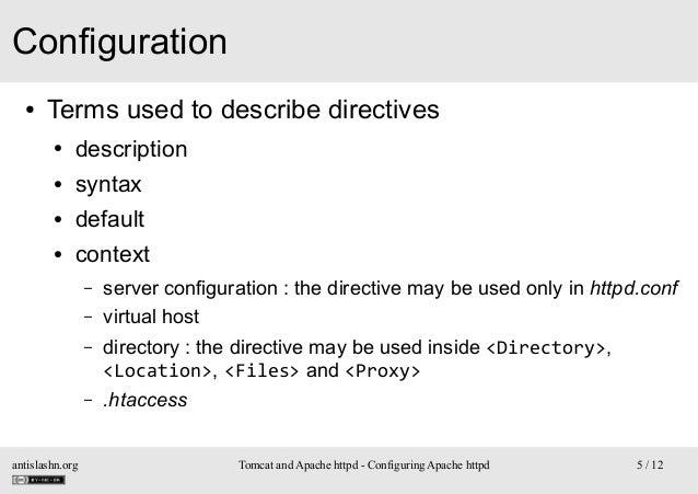 Configuration ●  Terms used to describe directives ●  description  ●  syntax  ●  default  ●  context – – –  –  antislashn....