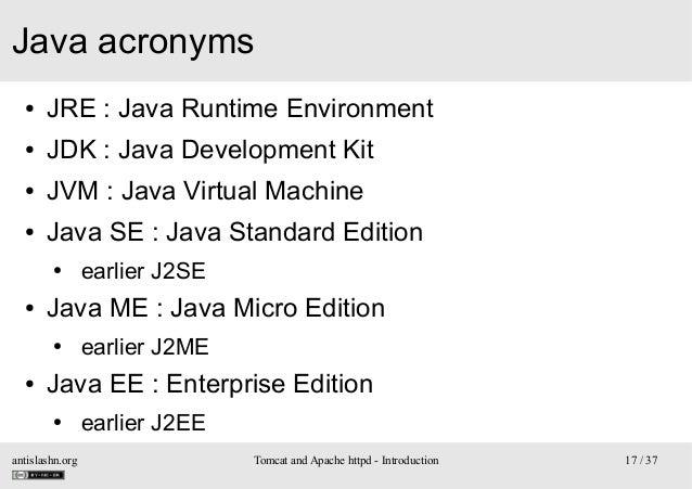 Java acronyms ●  JRE: Java Runtime Environment  ●  JDK: Java Development Kit  ●  JVM: Java Virtual Machine  ●  Java SE...