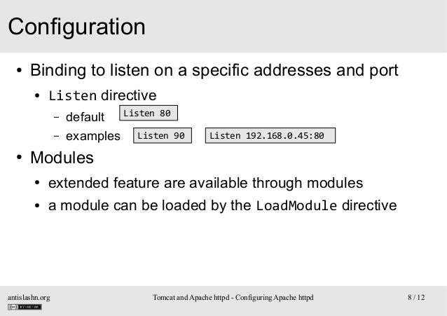 Configuration ●  Binding to listen on a specific addresses and port ●  Listen directive – –  ●  Listen 80 default examples...