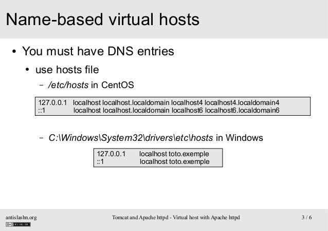 Name-based virtual hosts ●  You must have DNS entries ●  use hosts file –  /etc/hosts in CentOS  127.0.0.1 localhost local...
