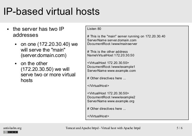 """IP-based virtual hosts ●  the server has two IP addresses ●  ●  Listen 80  on one (172.20.30.40) we will serve the """"main"""" ..."""