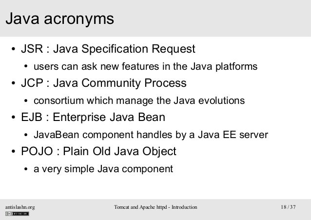 Java acronyms ●  JSR: Java Specification Request ●  ●  JCP: Java Community Process ●  ●  consortium which manage the Jav...