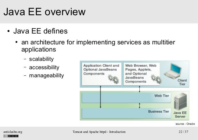Java EE overview ●  Java EE defines ●  an architecture for implementing services as multitier applications – – –  scalabil...