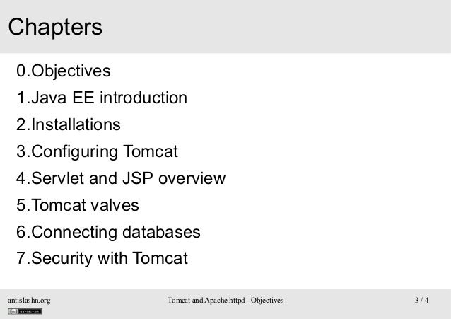 Chapters 0.Objectives 1.Java EE introduction 2.Installations 3.Configuring Tomcat 4.Servlet and JSP overview 5.Tomcat valv...