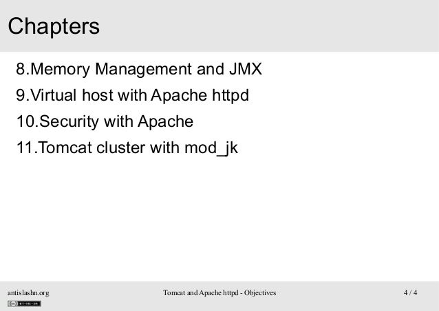 Chapters 8.Memory Management and JMX 9.Virtual host with Apache httpd 10.Security with Apache 11.Tomcat cluster with mod_j...