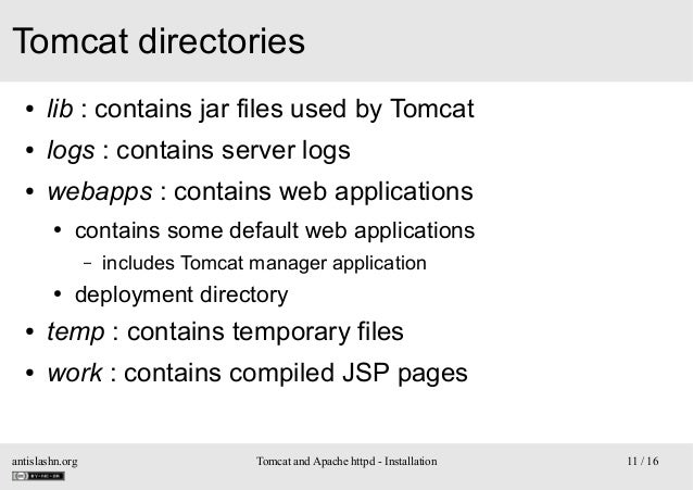 Tomcat directories ●  lib : contains jar files used by Tomcat  ●  logs : contains server logs  ●  webapps : contains web a...