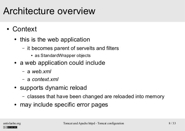 Architecture overview ●  Context ●  this is the web application –  it becomes parent of servelts and filters ●  ●  a web a...