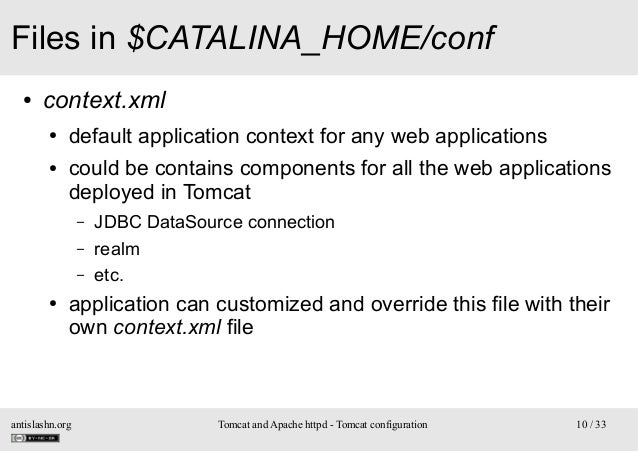 Files in $CATALINA_HOME/conf ●  context.xml ● ●  default application context for any web applications could be contains co...